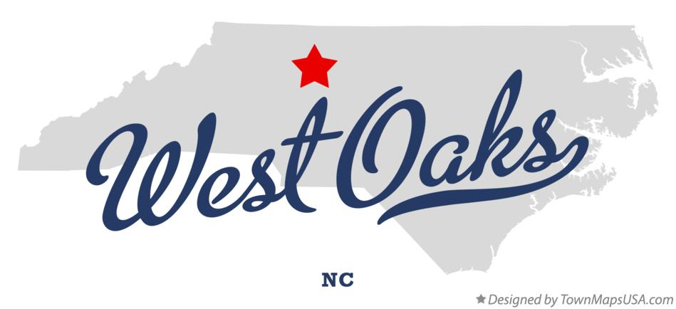 Map of West Oaks North Carolina NC