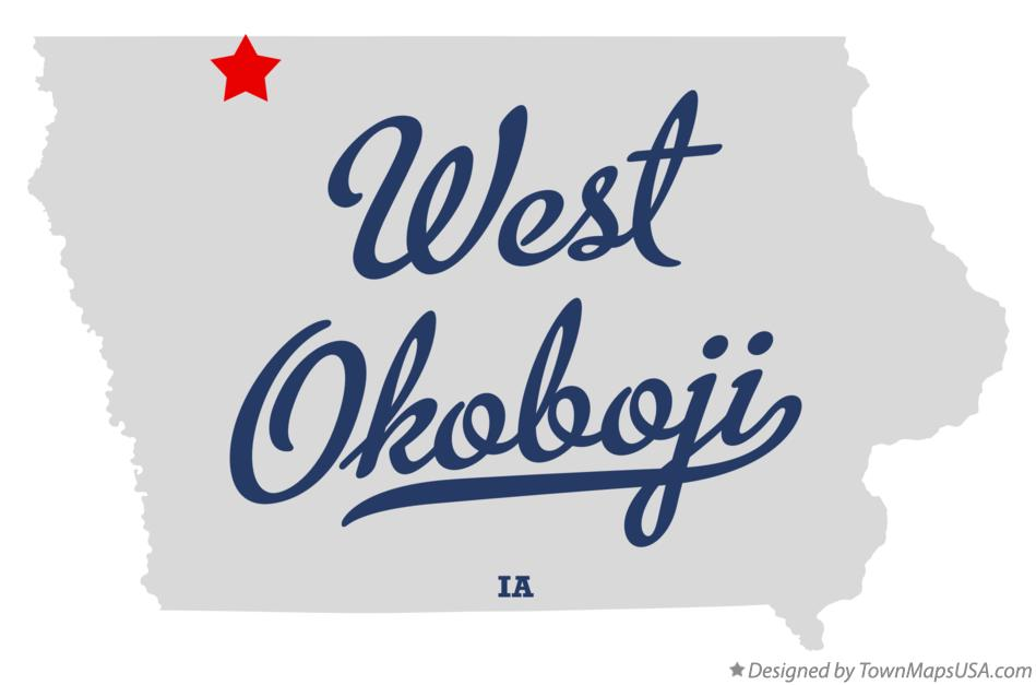 Map of West Okoboji Iowa IA