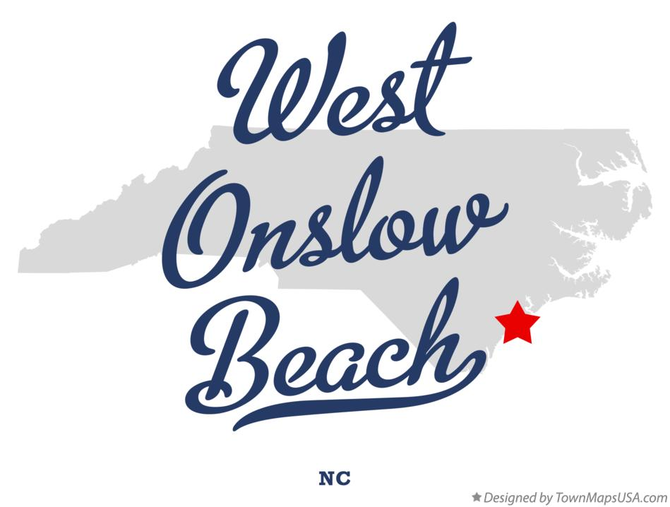 Map of West Onslow Beach North Carolina NC