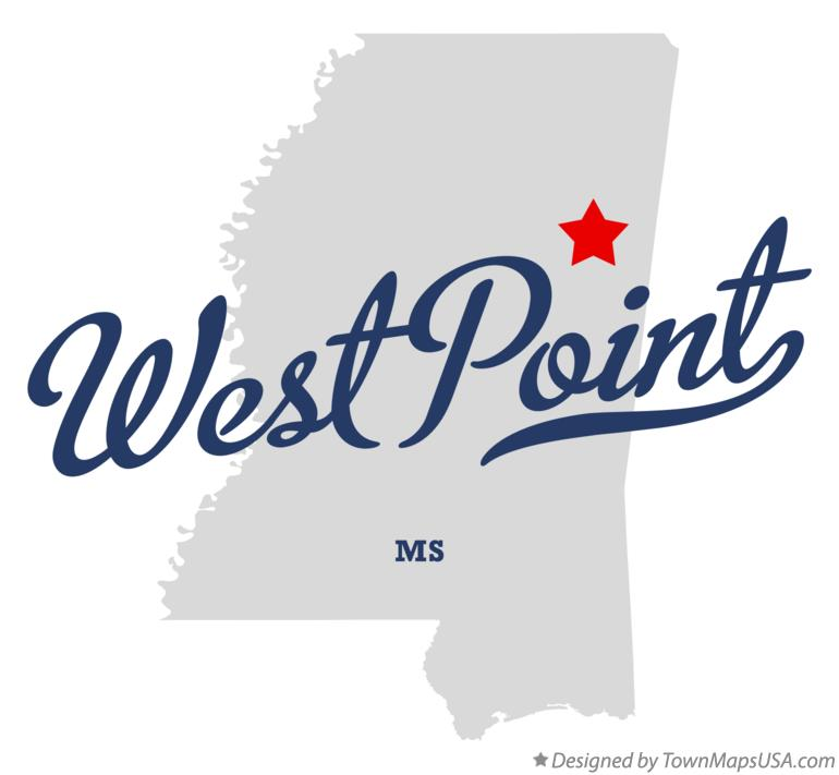 Map of West Point Mississippi MS