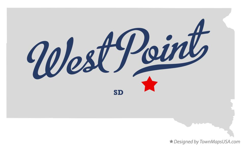 Map of West Point South Dakota SD