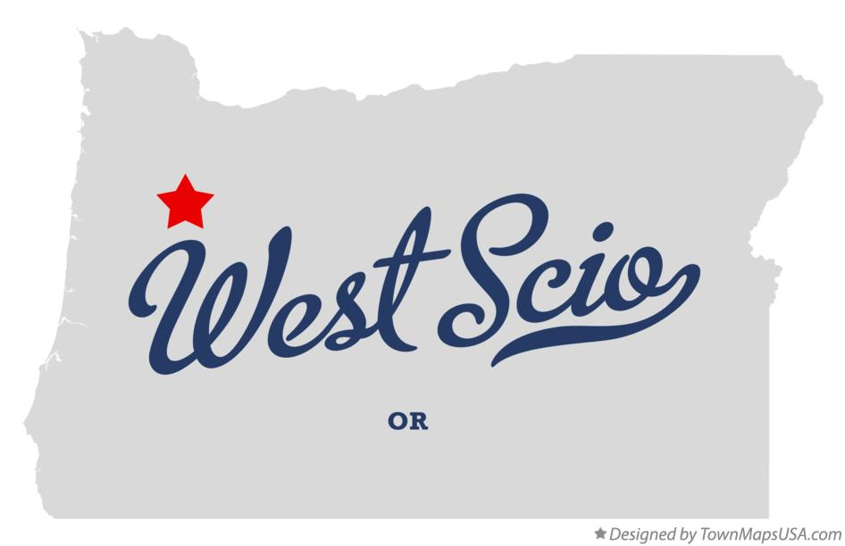 Map of West Scio Oregon OR