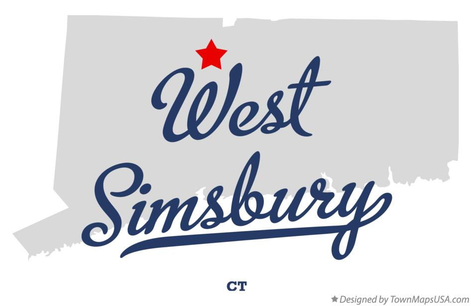 Map of West Simsbury Connecticut CT