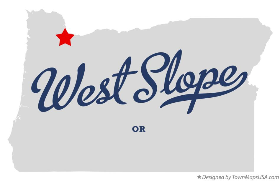 Map of West Slope Oregon OR