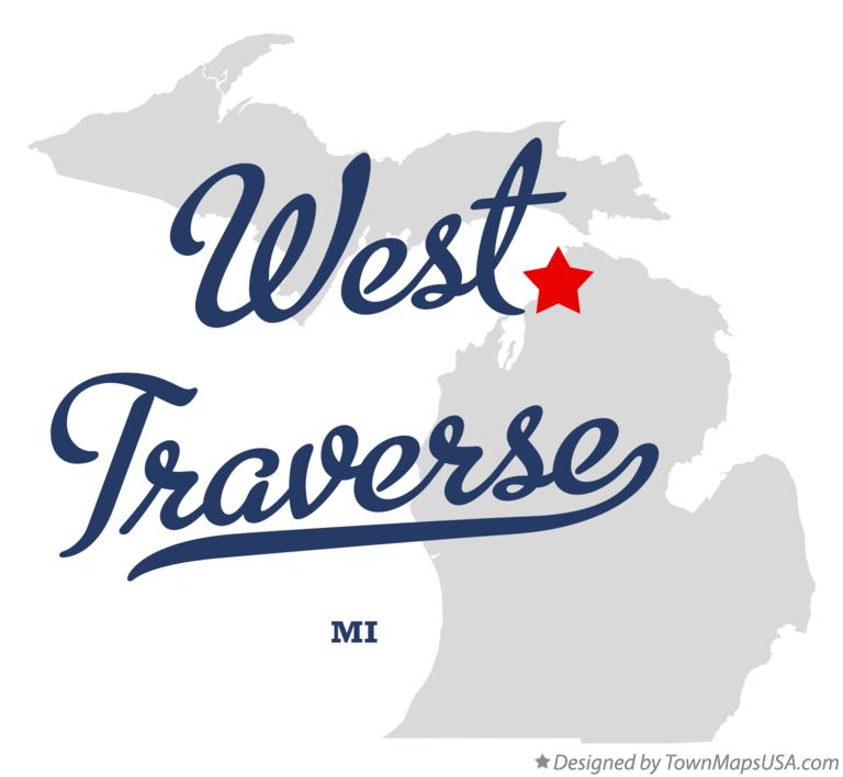 Map of West Traverse Michigan MI