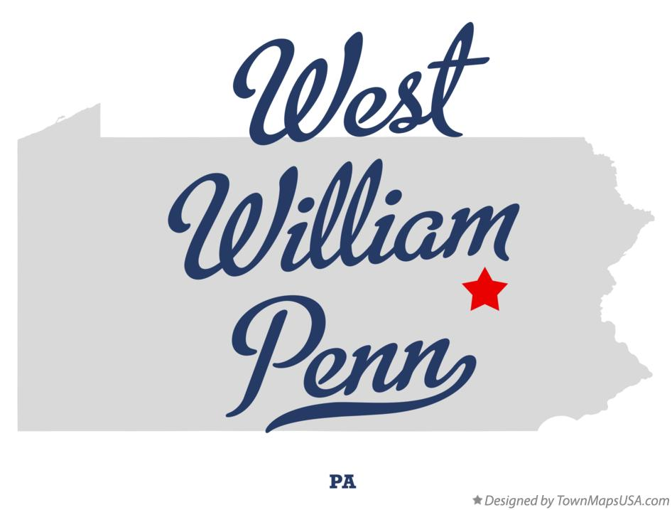 Map of West William Penn Pennsylvania PA