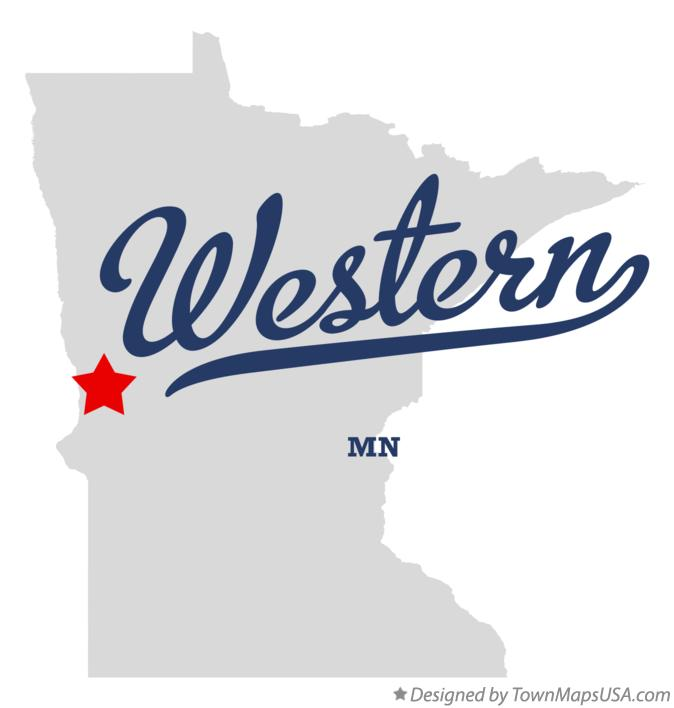 Map of Western Minnesota MN