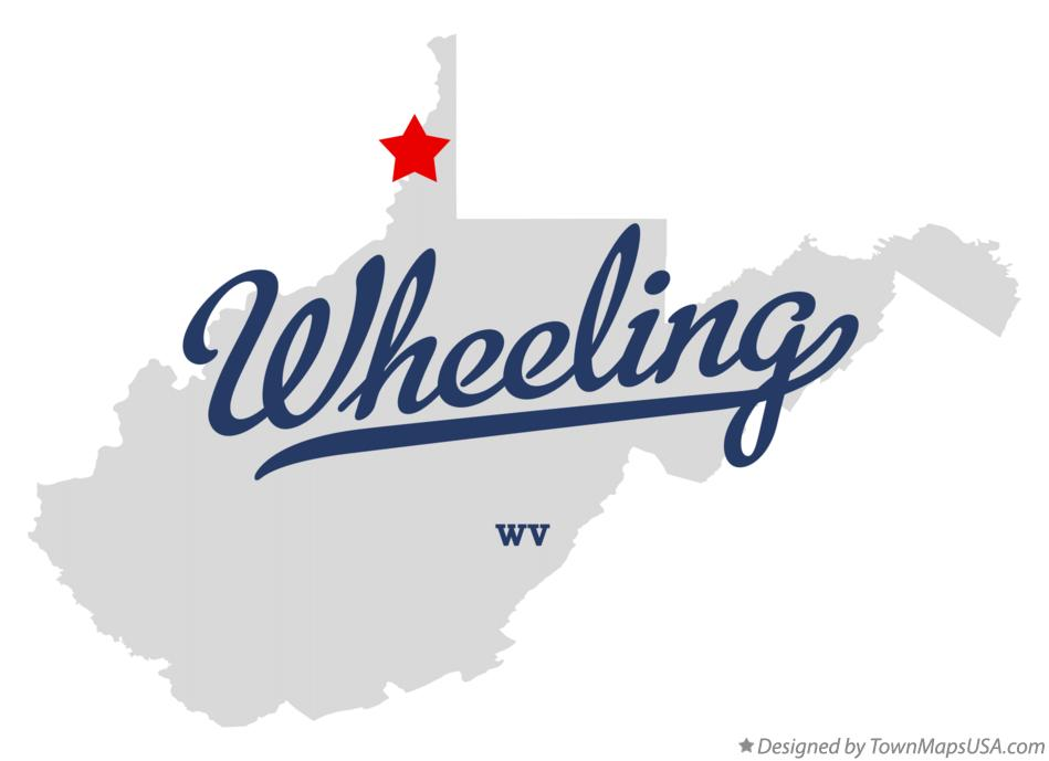 Map of Wheeling WV West Virginia