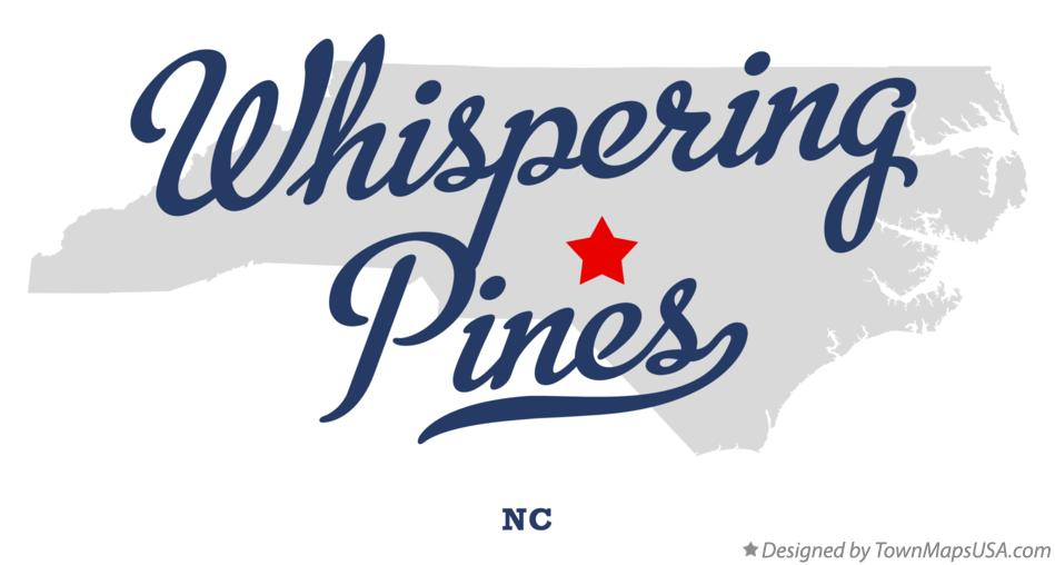Map of Whispering Pines North Carolina NC