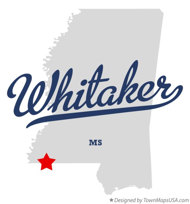 Map of Whitaker Mississippi MS