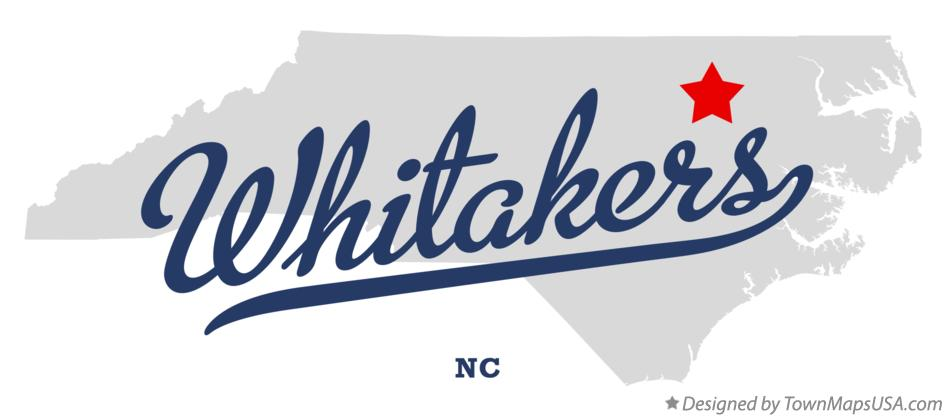 Map of Whitakers North Carolina NC