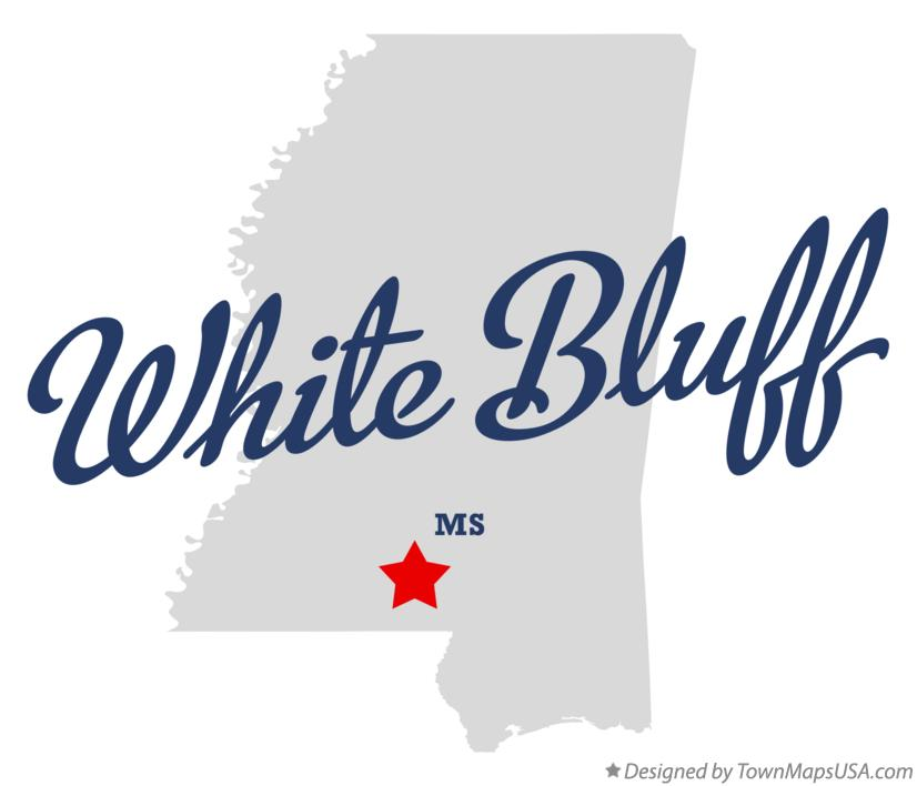 Map of White Bluff Mississippi MS