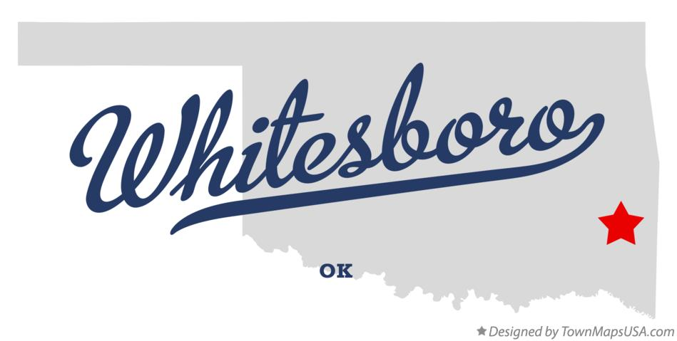 Map of Whitesboro Oklahoma OK