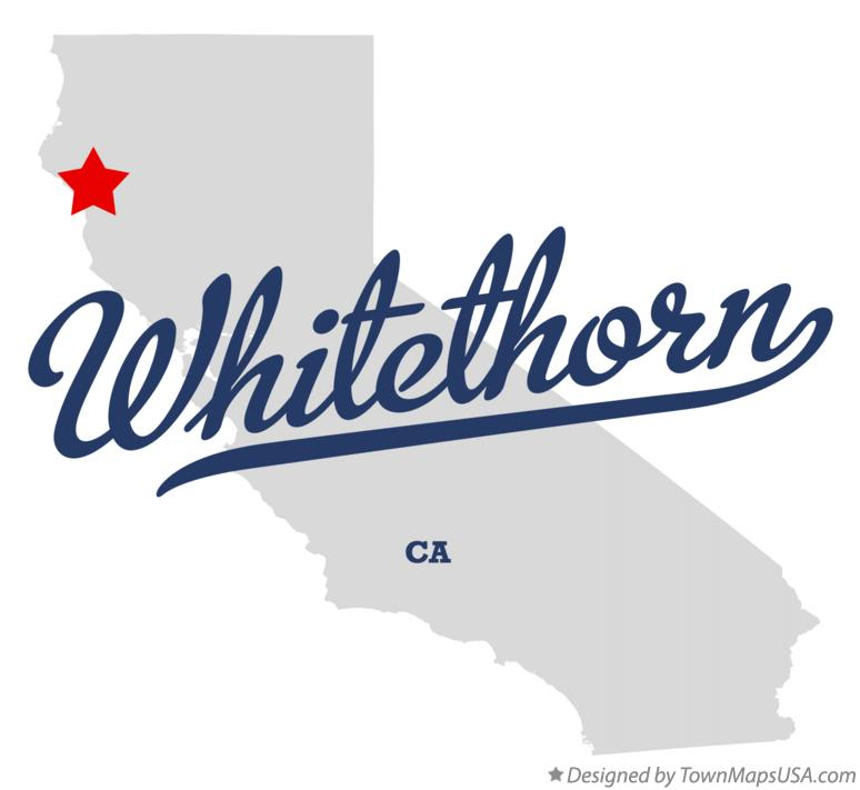 Map of Whitethorn California CA