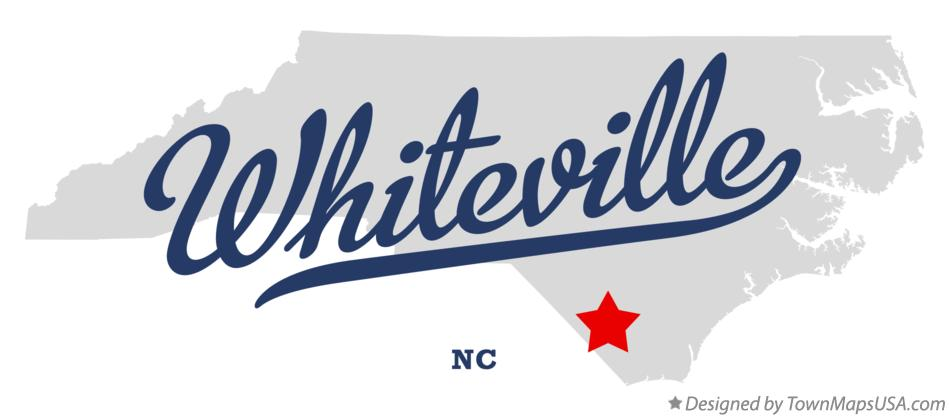 Map of Whiteville North Carolina NC
