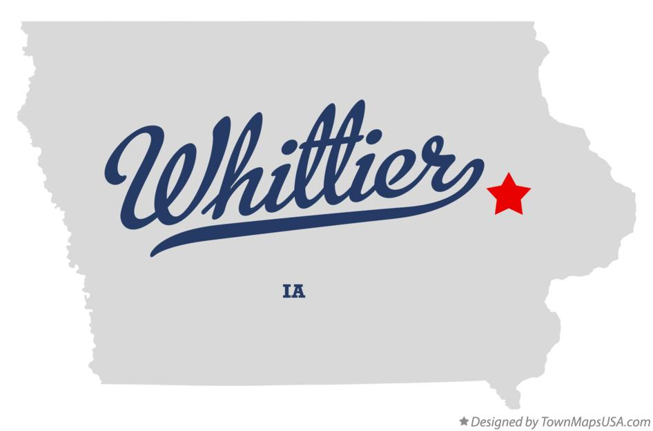Map of Whittier Iowa IA