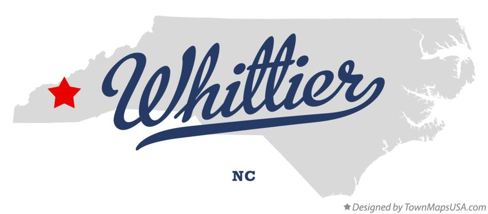 Map of Whittier North Carolina NC