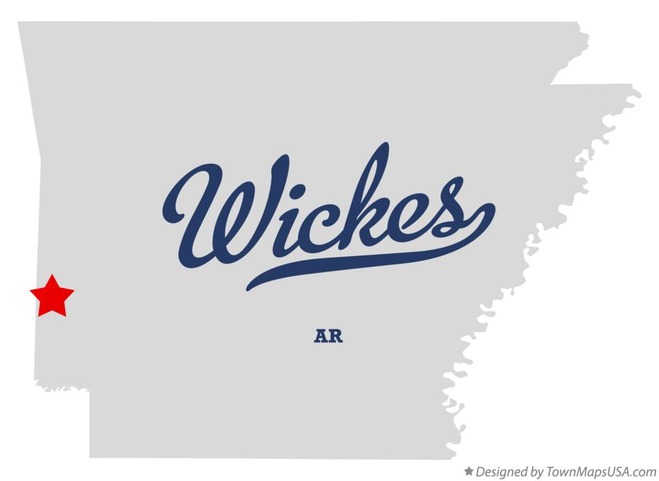 Map of Wickes Arkansas AR