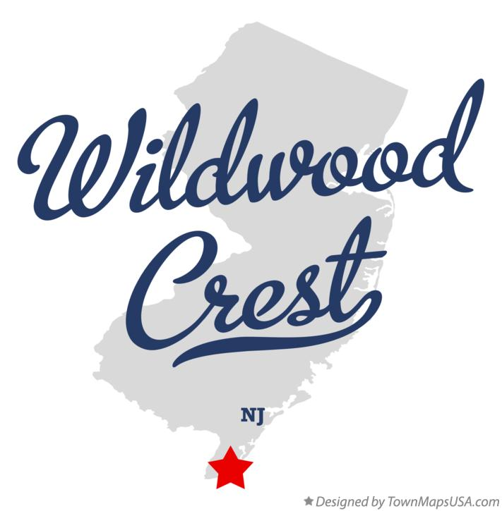 Map of Wildwood Crest New Jersey NJ