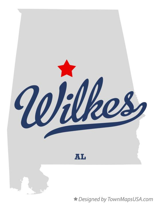 Map of Wilkes Alabama AL
