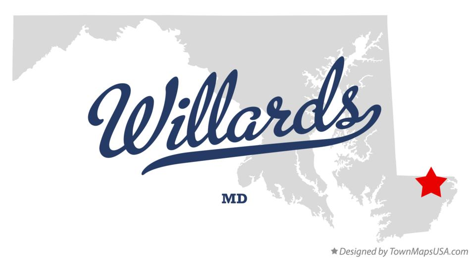 Map of Willards Maryland MD