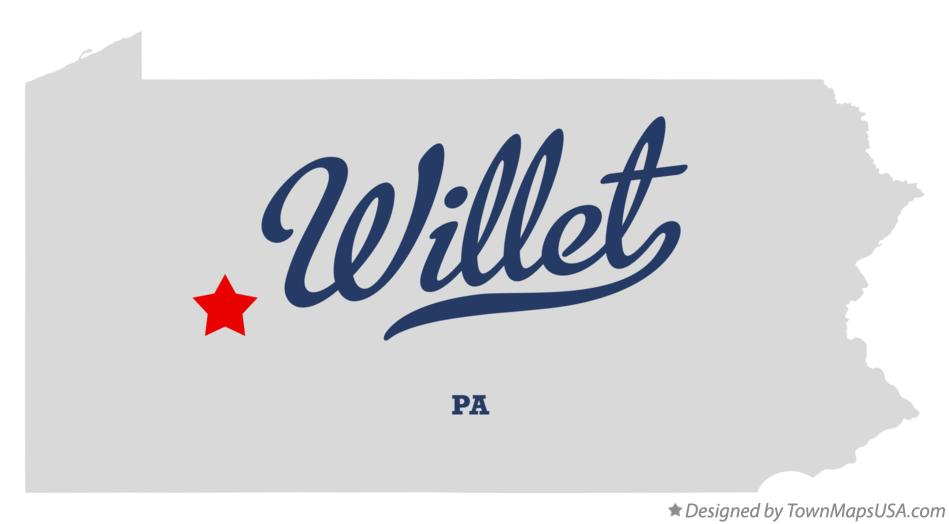 Map of Willet Pennsylvania PA