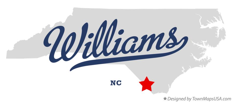 Map of Williams North Carolina NC