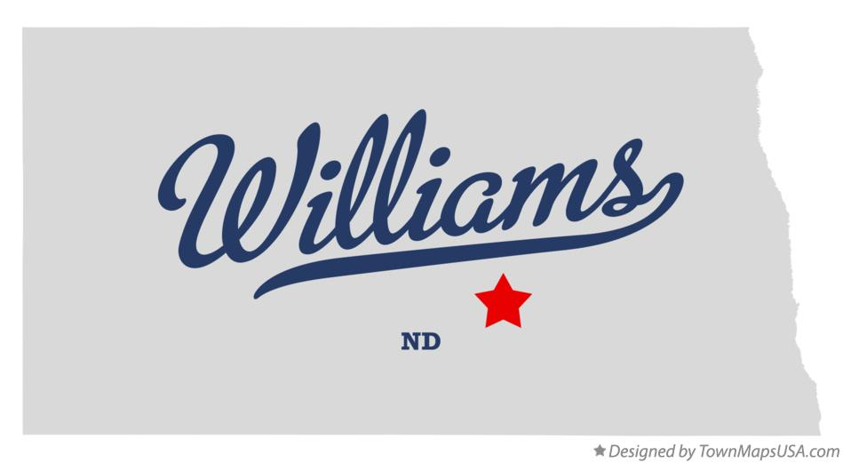 Map of Williams North Dakota ND