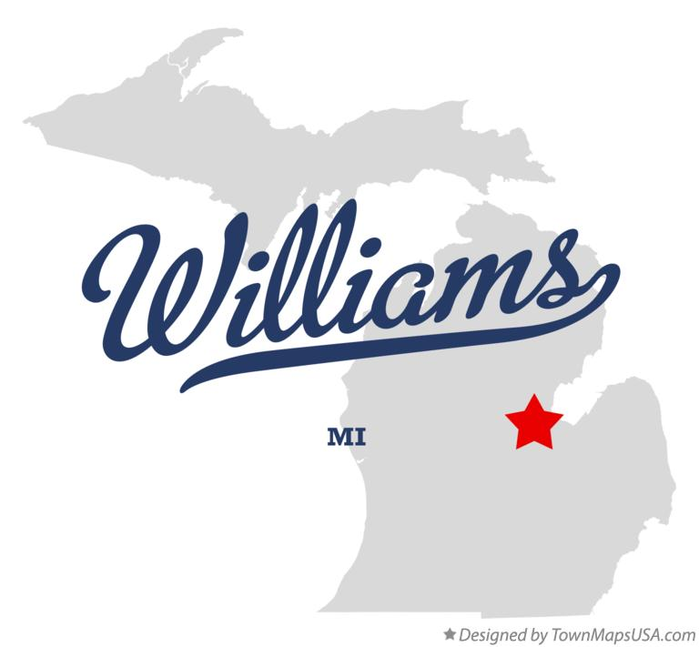 Map of Williams Michigan MI
