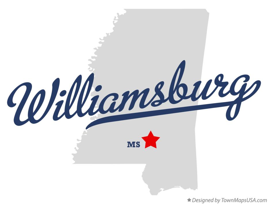 Map of Williamsburg Mississippi MS