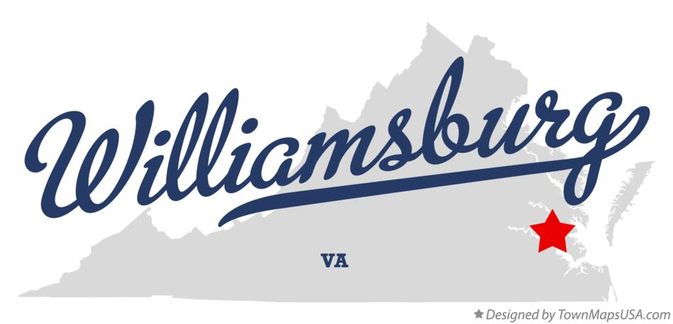 Map of Williamsburg Virginia VA