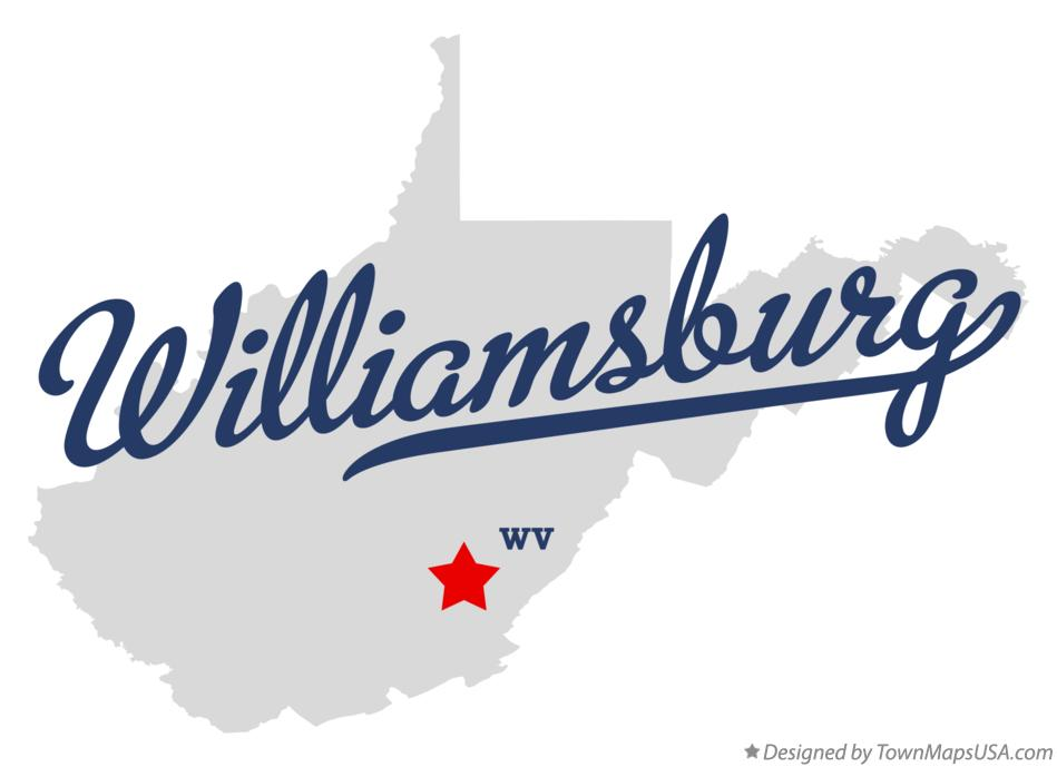 Map of Williamsburg West Virginia WV