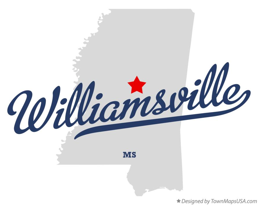 Map of Williamsville Mississippi MS