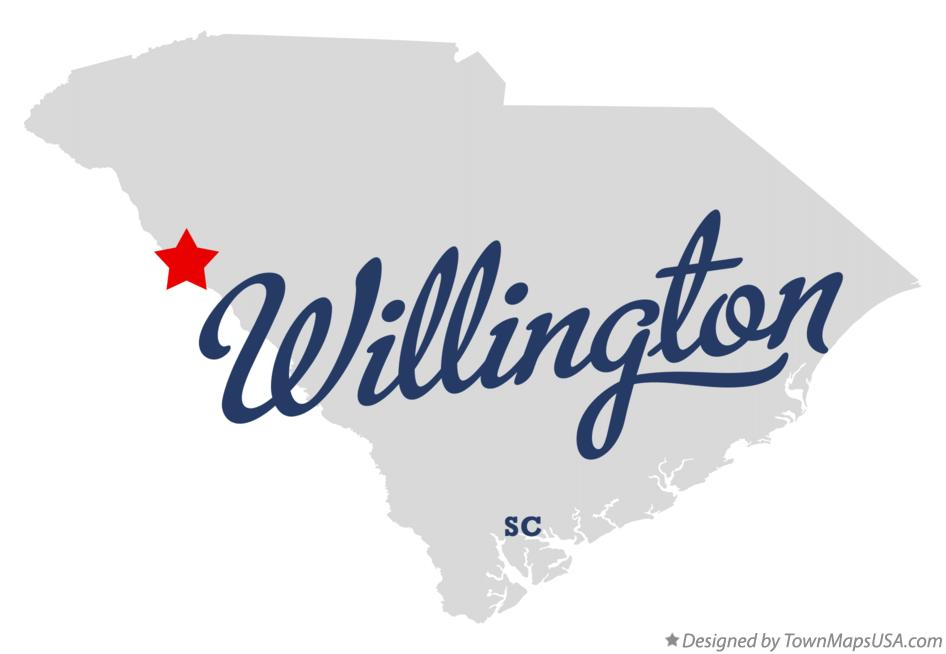 Map of Willington South Carolina SC