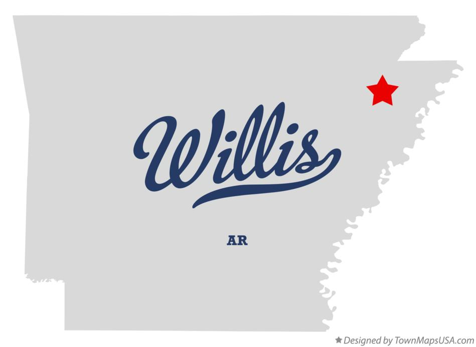 Map of Willis Arkansas AR