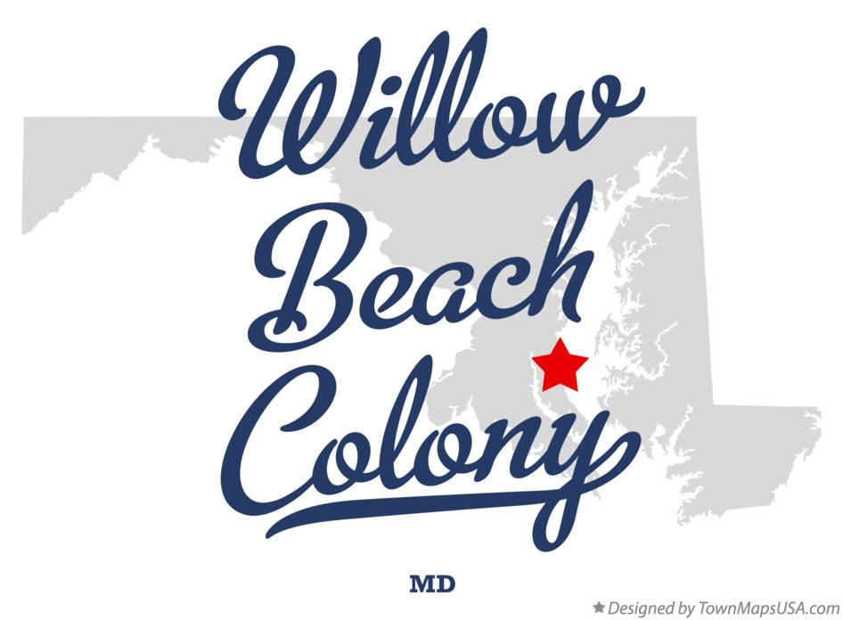 Map of Willow Beach Colony Maryland MD