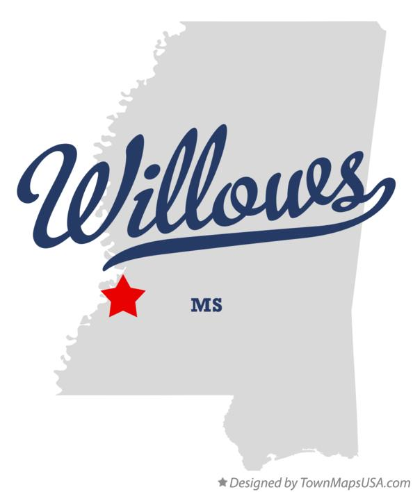 Map of Willows Mississippi MS