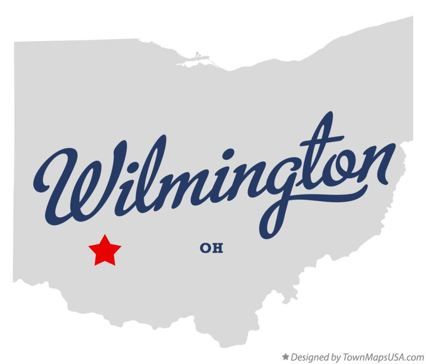 Map of Wilmington Ohio OH