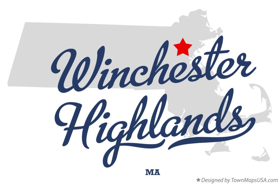Map of Winchester Highlands Massachusetts MA