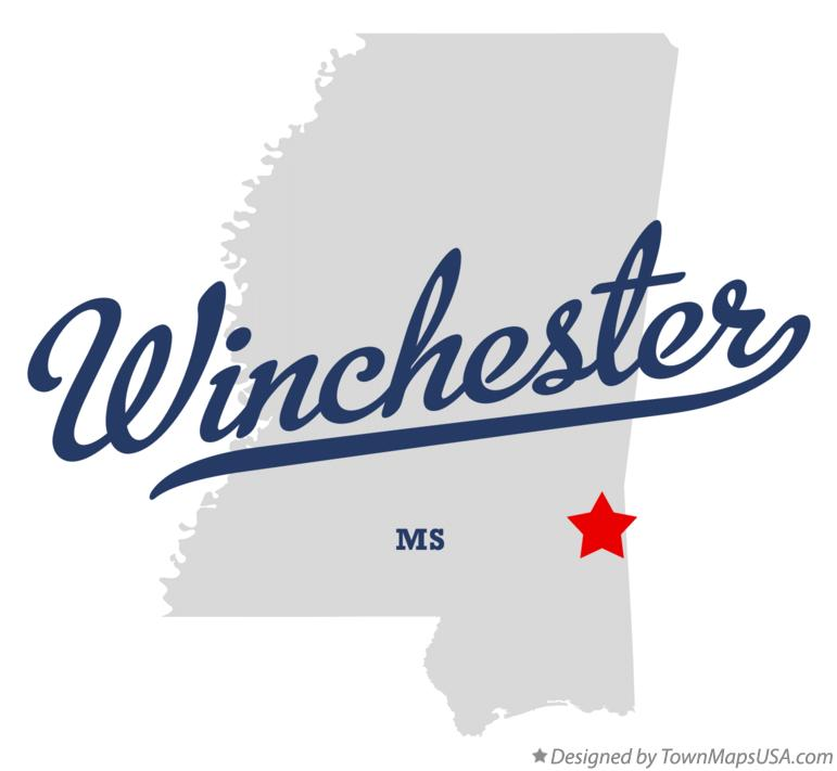 Map of Winchester Mississippi MS