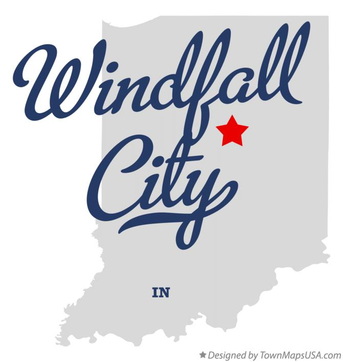 Map of Windfall City Indiana IN