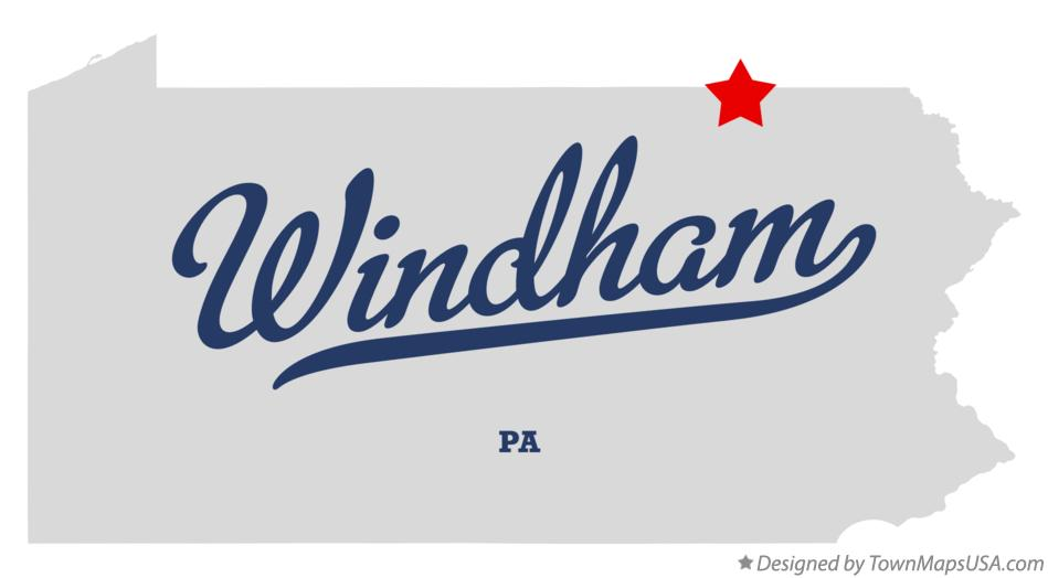 Map of Windham Pennsylvania PA