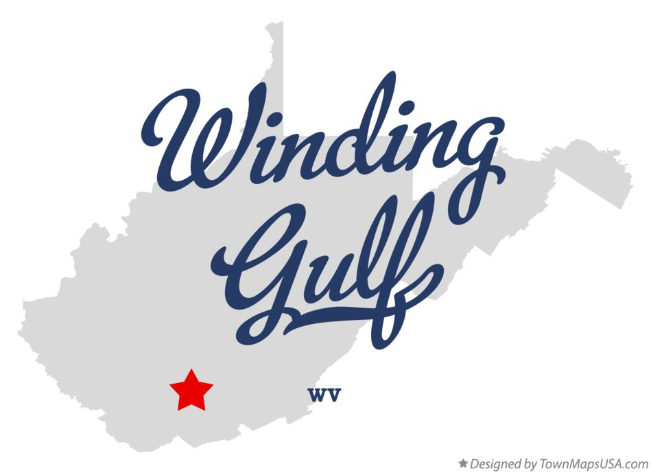 Map of Winding Gulf West Virginia WV
