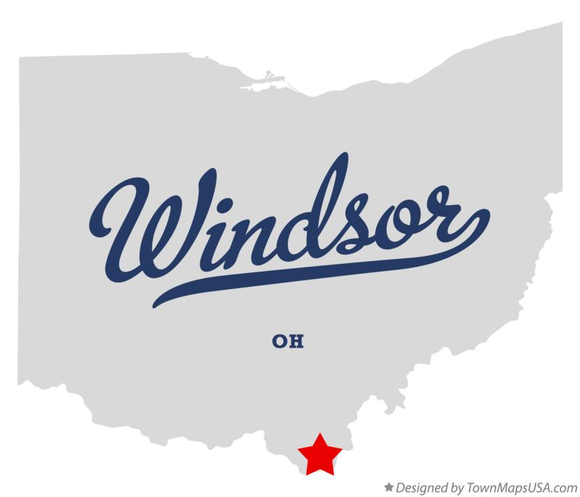 Map of Windsor Ohio OH