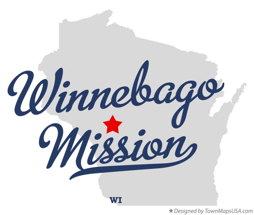 Map of Winnebago Mission Wisconsin WI