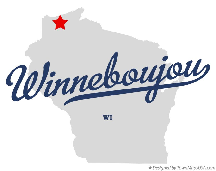 Map of Winneboujou Wisconsin WI
