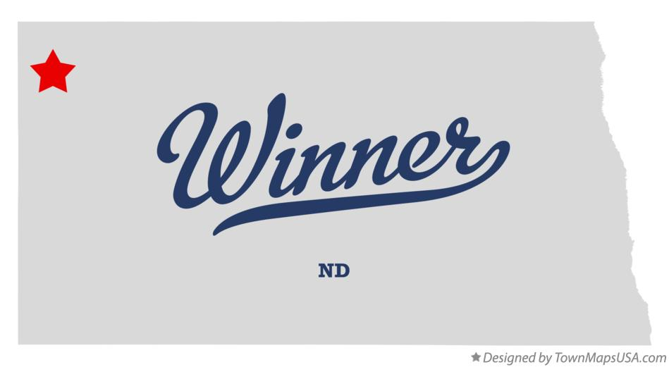 Map of Winner North Dakota ND