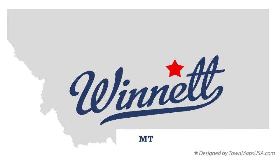 Map of Winnett Montana MT