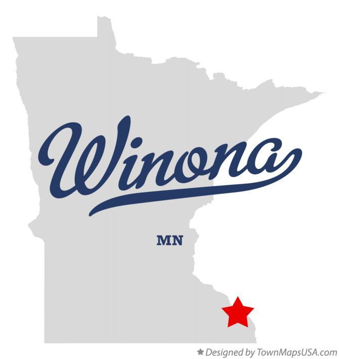 Map of Winona, MN, Minnesota