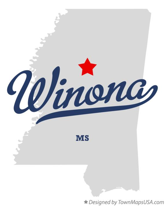 Map of Winona Mississippi MS
